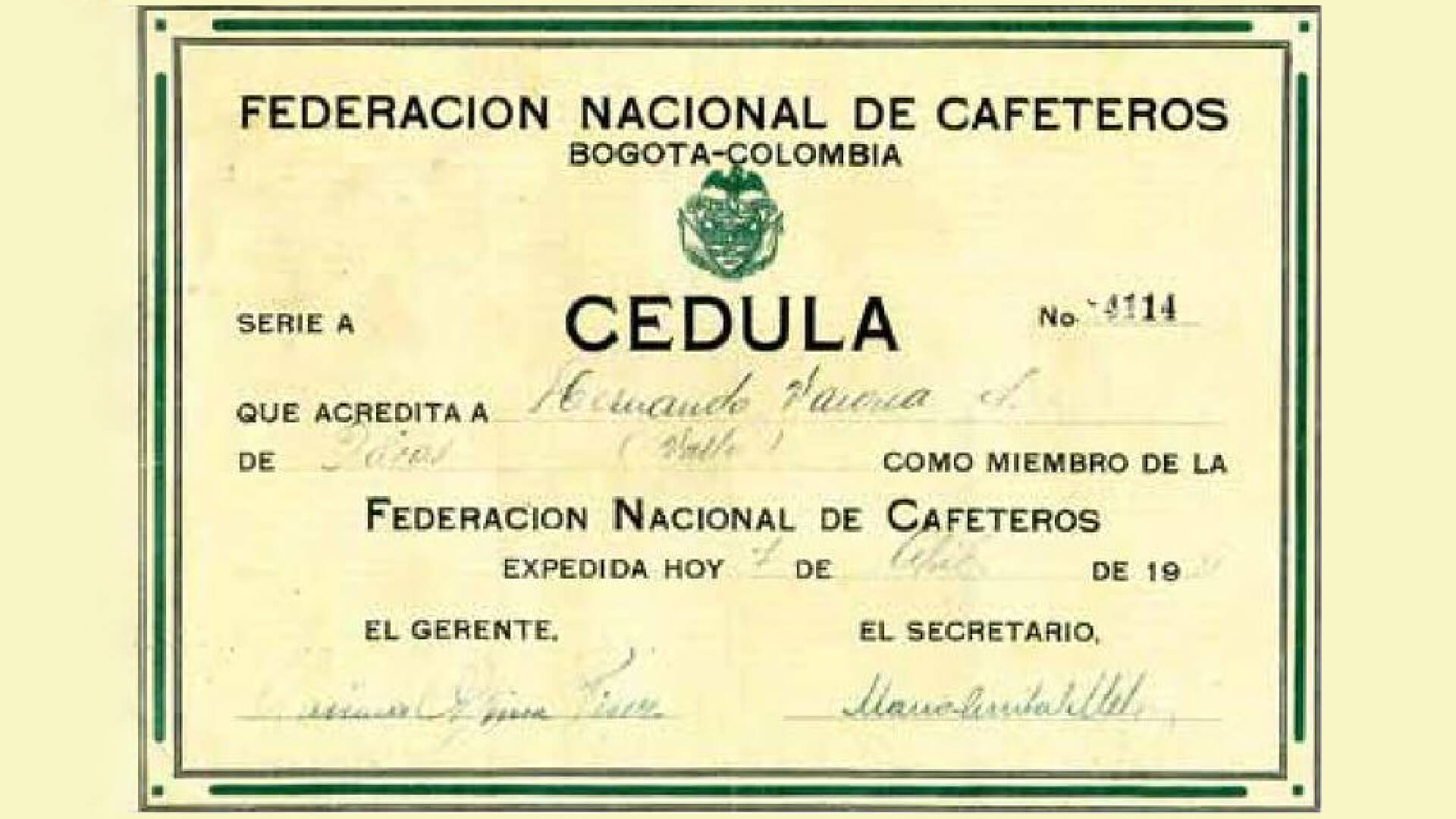 Cédula Cafetera: <span style=